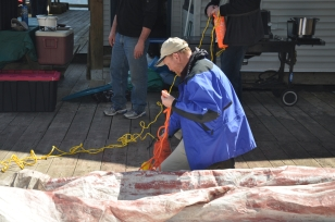 Restuffing the heaving line bag