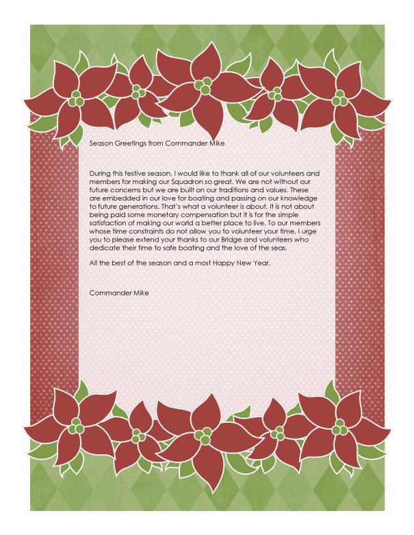 Festive Message | Burnaby Power & Sail Squadron